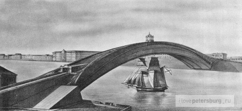 Проект деревянного моста И Кулибина История Санкт Петербурга Проект деревянного моста Кулибина